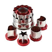 Cake Boss 6-Piece Classic Linzer Cookie Cutter Set, Red
