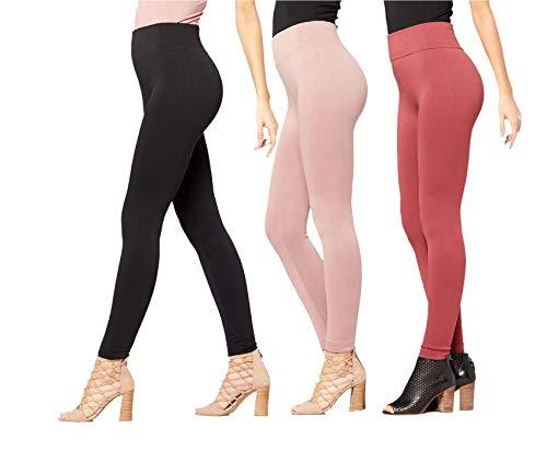 bc56fa870c02d Conceited Fleece Lined Leggings for Women - LFL 3 Pack Black Mauve Dark  Mauve
