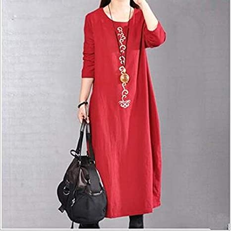 Amazon.com: Autumn Water Autumn Winter Long Sleeve Maxi Dress Women Vintage Cotton Linen Dress Loose Solid Elegant Dress: Kitchen & Dining