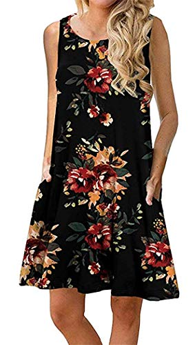 Boho Tshirt Dresses for Women Beach Casual Sleeveless Floral Shift Pockets Swing Loose Damask(S,Brick -