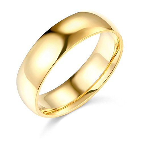 14k Yellow Gold Ring Solid Plain Wedding Band Regular Fit Polished Finish, 6 mm Size 8.5