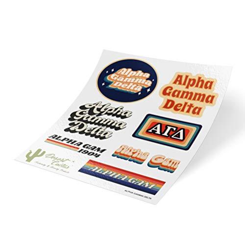 Alpha Gamma Delta 70's Themed Sticker Sheet Decal Laptop Water Bottle Car Alpha Gam (Full Sheet - 70's)