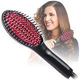 PETRICE Hair Straightener Brush, Perfectday Ceramic Heating Straightening Irons Brush Anti Scald, Static, Detangling and Silky Straight