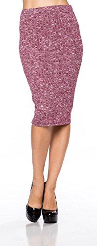 A. S Womens Bodycon 2-Tone Ribbed Hacci Midi Skirt-Purple-Medium