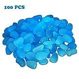 CHRISLZ 100 PCS Man-made Glow Pebbles Stone Luminous Decorative Stones for Garden Walkway or Fountain Aquarium (blue)