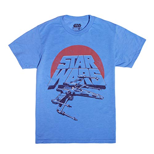 Wars T-shirts Star For Kids - Star Wars Boys' Vintage Inspired X-Wing Fighter T-shirt, Light Blue, Small