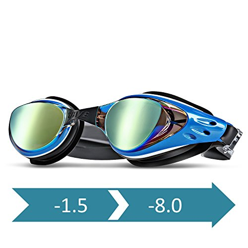 wave Prescription Unisex Swim Goggles with Vision Mirror Coated, Optical Corrective Swimming...