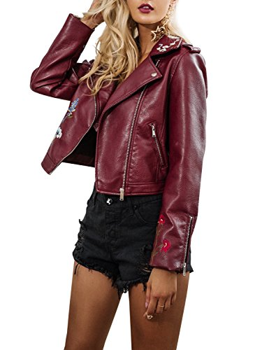 Embroidered Faux Short Simplee Biker Leather Wine Women's Apparel Red Outwear Lapel Jacket ETnTxCgq