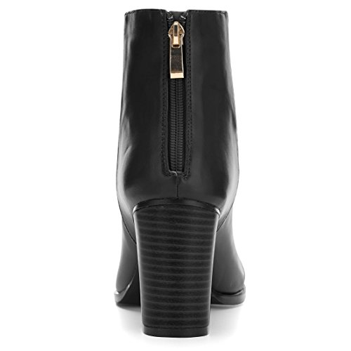 Allegra K Women's Round Toe Stacked Block Heel Zipper Booties Black Fqh04Oeo