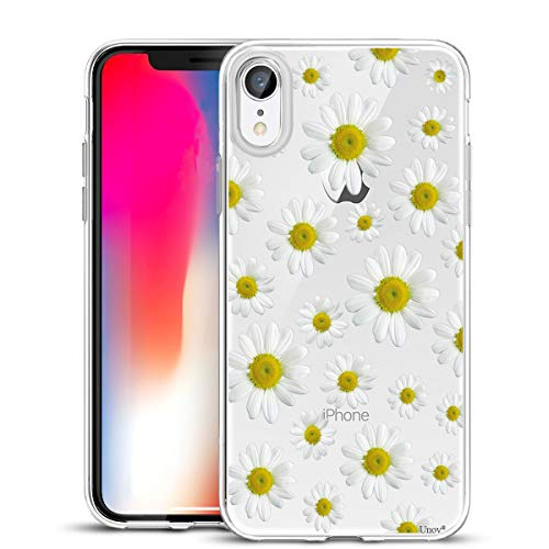 Unov Case Clear with Design Slim Protective Soft TPU Bumper Embossed Flower Pattern [Support Wireless Charging] Cover for iPhone XR 6.1 Inch(White Daisy)