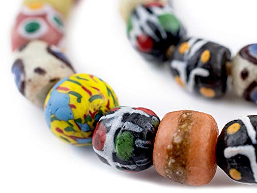 Recycled Glass Beads - TheBeadChest Painted African Krobo Beads - Full Strand of Ghanaian Tribal Glass Beads for Necklace or Jewelry Making (Fancy Venetian-Style)