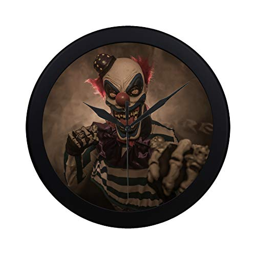 ZXWXNLA Modern Simple Evil Scary Clown Monster Pattern Wall Clock Indoor Non-Ticking Silent Quartz Quiet Sweep Movement Wall Clcok for Office,Bathroom,livingroom Decorative 9.65 Inch -