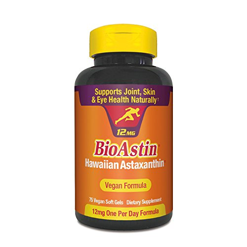BioAstin Hawaiian Astaxanthin – VEGAN Formula - 12mg - 75 ct – The Original High Potency One Per Day Formula - Supports Joint, Skin, & Eye Health Naturally – A Super-Antioxidant Grown in (Foods Joint Support Cream)