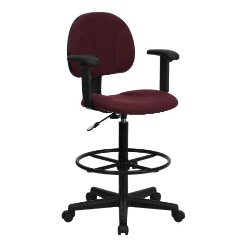Soft Comfy Sturdy Durable Easy Care Ergonomic Multi-Function Drafting Stool with Arms, Burgundy Great for Work Requiring Eye Contact Level Too - Perfect for Hours of Working