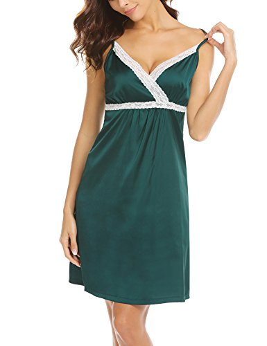 Hotouch Women's Satin Spaghetti Strap Nightdress Nightgown Babydoll Slip Dark Green ()
