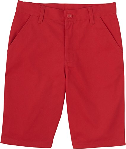 [French Toast School Uniforms Boys Solid Twill Flat Front Shorts, Red, 2T] (Red Boys Shorts)