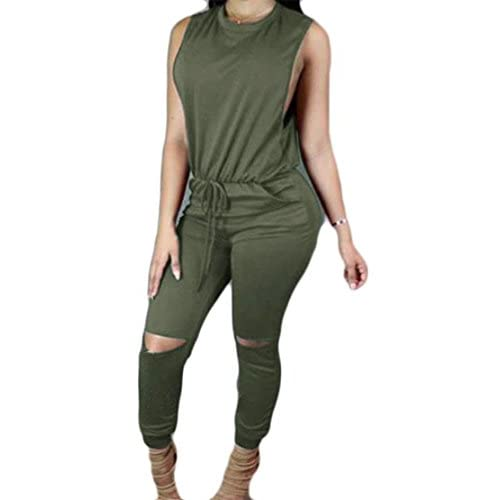 New Cromoncent Womens Casual Zip Sleeveless Holes Drawstring Long Jumpsuits Green US-M for cheap