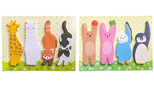 (Amifa Cute Animal Shapes Sticky note Bookmark Flags Index Tads 100 Sheets Each (25 Sheets×4 Pattern) Book Type B 2PCS)