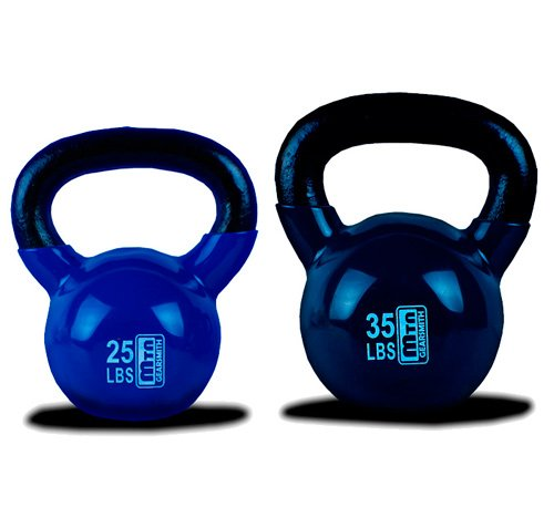 New MTN 25 + 35 lbs (2pc) Vinyl Coated Cast Iron Kettlebell (Kettle Bell) Combo Special - Lowest Price, Fastest Priority Shipment