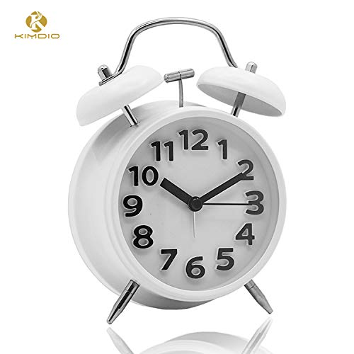 Kimdio Twin Bell Alarm Clock with Backlight, 4'' Metal Frame 3D Dial Battery Operated Travel Clock Desk Table Clock for Home and Office etc. (White)
