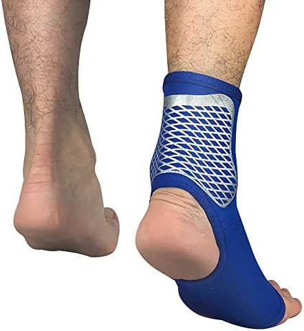 Novania Elastic Compression Foot Wrap, Breathable Neoprene Foot Support Socks, Adjustable Wrap for Injury Recovery, Joint Pain (Blue, L)