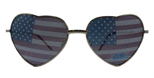 American Flag Heart Shaped Sunglasses
