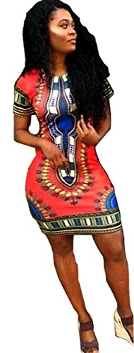 Women Dashiki Short Sleeve Dress Red - 6
