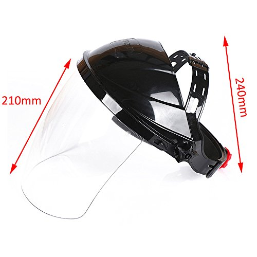 Ginode 2 Pack Anti-UV Welding Grinding Helmet Full Face Grinding Shield Plasma Cutting/Grinding Polycarbonate Face shield Black Crown and Clear Anti-Fog Window with Ratchet Headgear