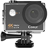Corux 4K Ultra HD Touchscreen Sports Action Camera Wi-Fi Video Camcorder 16MP 170 Wide Angle Lens 100 Feet Diving Waterproof, with 2 x Batteries