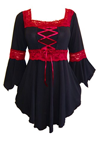 Dare to Wear Victorian Gothic Peasant Women's Plus Size Renaissance Corset Top, Black/Red L