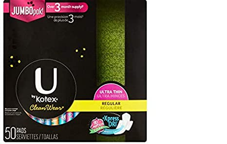 U by Kotex CleanWear Ultra Thin Pads with Wings, Regular, Fragrance-Free,