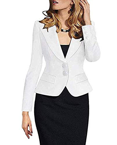 (SEBOWEL Women's Formal Two Button Slim Fitted Office Work Blazers Jackets Suits Plus Size S-3X)