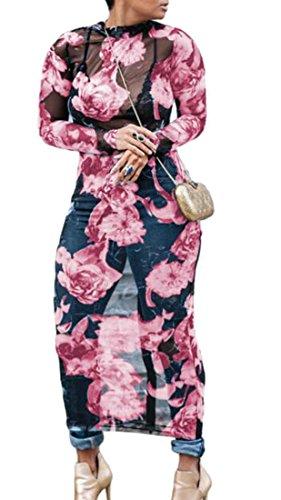 Clubwear Maille Sexy Voir À Travers Imprimé Rose Moulante Longue Robe Stretch Femmes Cromoncent
