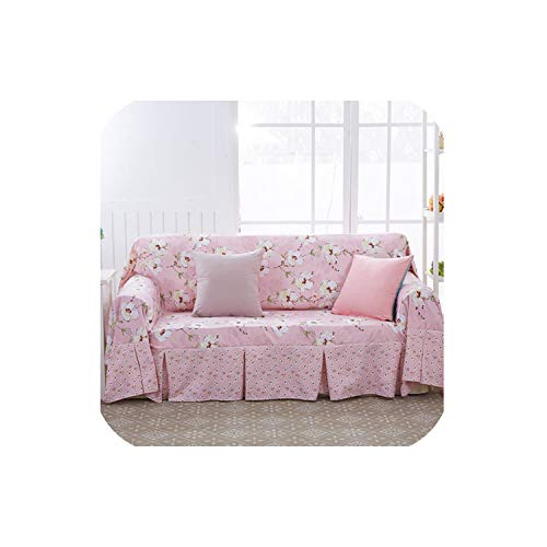 Pastoral Style Simple Sofa Set All-Inclusive Sofa Towel Cloth slipcover Carpet Polyester Sofa Sets Pillow Floral Tablecloth,Burgundy,Tablecloth 110x160CM ()