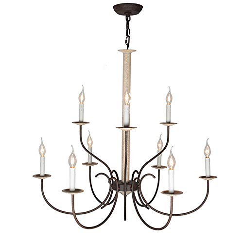 Baiwaiz Rustic Candle Chandelier Lighting, Metal Antique Vintage Chandelier Pendant Light 9 Lights Edison E12 074