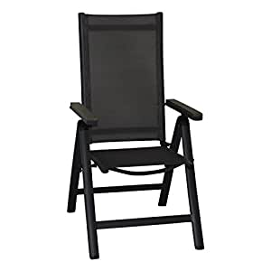 Parma–Silla plegable, aluminio antracita, plegables, silla de jardín plegable, silla de camping