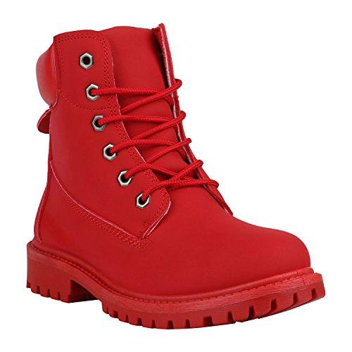 Stiefelparadies Bequeme Damen Stiefeletten Outdoor Worker Boots Flandell Rot Camargo
