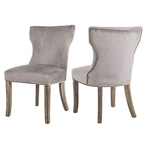 DAGONHIL Set of 2 Fabric Dining/Accent Chairs with Antique Solid Wooden Legs,Nailed Trim (Gray) ()