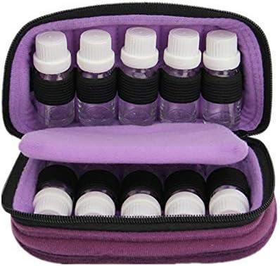 アロマセラピー収納ボックス 15ミリリットルトラベルオーガナイザーバッグ用のストレージ10は、エッセンシャルオイルのスーツケースのバッグ完璧な10本のボトルを移動します エッセンシャルオイル収納ボックス (色 : 紫の, サイズ : 18X10X7.5CM)