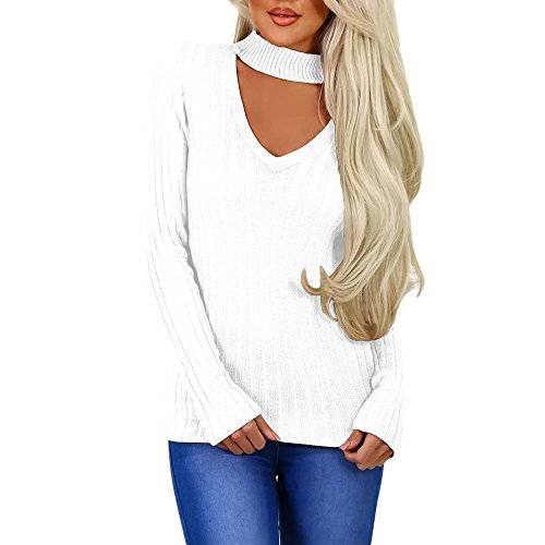 MuCoo Women's Ribbed Knitted Choker V-Neck Sweater Jumper Pullover Tops White L ()