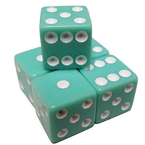 16 Mm Pastel Green (Set of 5 Pastel Aqua Green Color 6 Sided Dice Square Corner White Pips 16mm in Snow Organza)