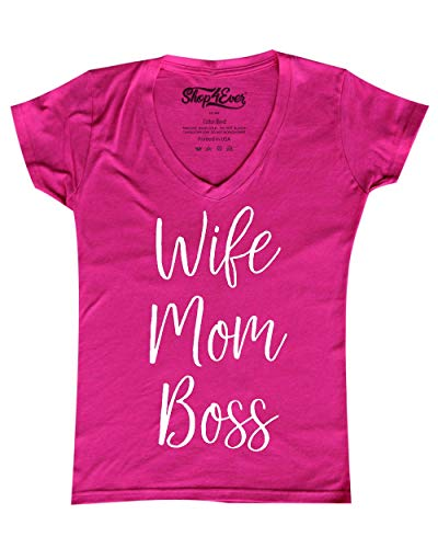 Shop4Ever Wife Mom Boss Women's V-Neck T-Shirt Medium Pink 0