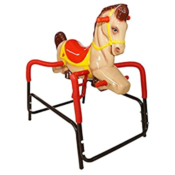 Image of American Classic Toy Palomino Pony The Wonder Horse Ride On, Brown/Tan with Red Baby