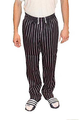 Mens Traditional 100% Cotton Baggy Chef Pant (Black/Pink Pinstripe, M)