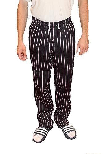 Pro Pinstripe Pant - Mens Traditional 100% Cotton Baggy Chef Pant (Black/Pink Pinstripe, M)