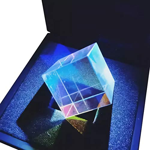 Birthday Glass Cube (Optical Glass Cube Prism RGB Dispersion Prism Physics Light Spectrum Take Pictures Camera Filter Photo Photography Tool - Including Flashlight)
