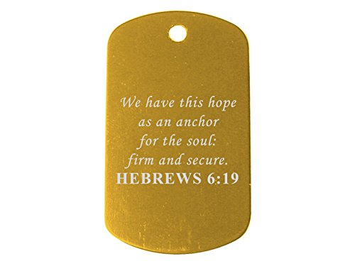 Bible Psalm Hebrews 6:19 Light Gold Dog Tag Custom Engraved By NDZ Performance