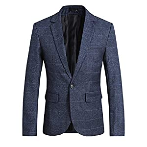 Allthemen Mens Casual Blazer Slim Fit Tweed Check Suit Jacket Plaid Suits Blazer Coat One Button Suits Tuxedo