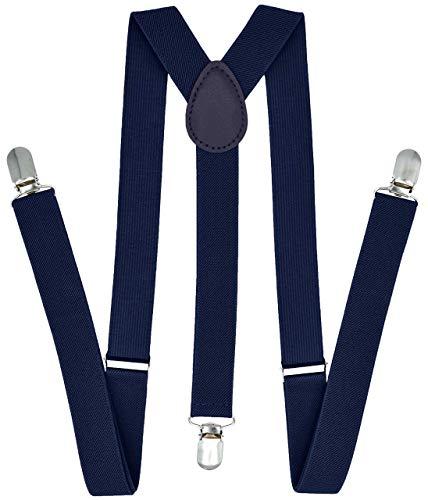 Trilece Suspenders for Men - Adjustable Elastic Y Back Style Suspender - Strong Clips (Navy Blue) -