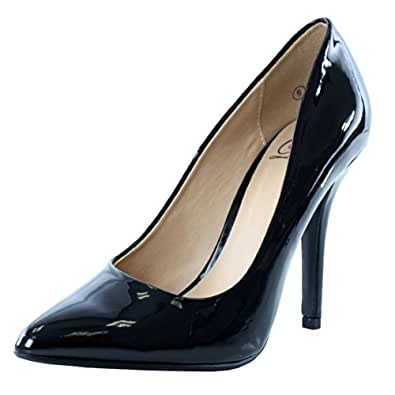 Delicious Women's Cindy Pointy Toe Velvet Single Sole Classic Pump,5.5 B(M) US,Black Patent